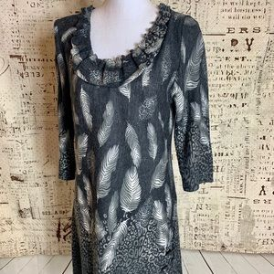 Papillon Anthropologie Feather Sweater Dress Lg